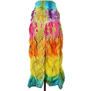 Cute Options Gathered Bright Tie Dye Maxi Skirt S